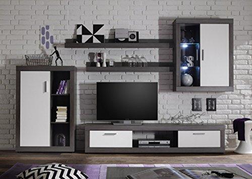 Dreams4Home Wohnkombination 'Tiziano I', Schrank Vitrine TV-Schrank Wohnwand Wohnelement Wohnzimmer Regalwand inkl. Beleuchtung Rauchsilber / weiß