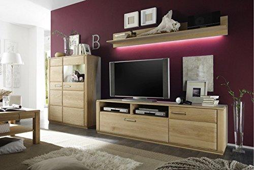 Dreams4Home Wohnkombination 'Yascha VI' 3-teilig, Eiche Bianco massiv, optional mit Beleuchtung, Schrank, TV-Schrank, TV Element, Wohnwand, Wohnelement, Wohnzimmer, Regalwand, Highboard, Vitrine