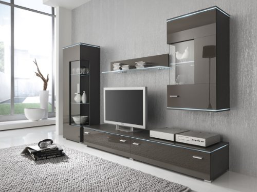 Dreams4Home Wohnwand Anbauwand grau lavagrau, Fronten hochglanz, optional LED-Beleuchtung, Beleuchtung:Beleuchtung Weiß