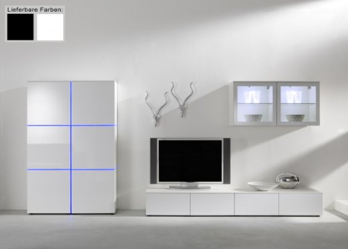 Dreams4Home Wohnwand Square Anbauwand Schrankwand weiß o schwarz hochglanz opt LED-RGB-Beleuchtung