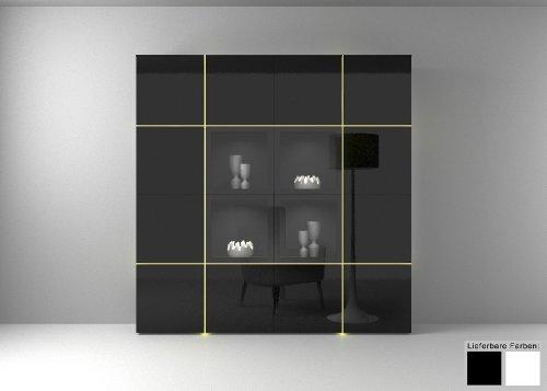 Dreams4Home Wohnwand Wohnzimmerschrank Regal Square Kommode weiß o schwarz hochglanz LED-RGB-Beleuchtung