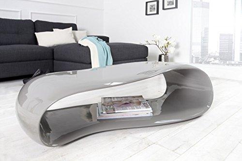 DuNord Design Couchtisch Sofatisch GRAVITY grau 110cm hochglanz Fiberglas Design Lounge Tisch