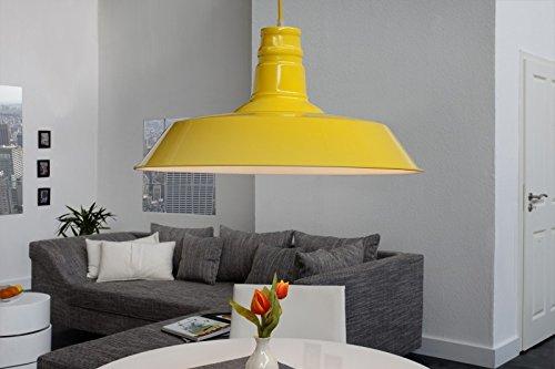 DuNord Design Hängelampe Hängeleuchte INDUSTRIAL gelb 45 cm