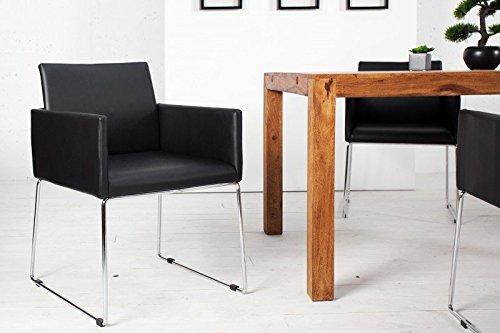 DuNord Design Stuhl Esszimmerstuhl MARCO Kunstleder schwarz anthrazit Design Küchenstuhl