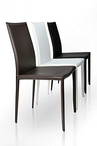 DuNord Design Stuhl VERONA weiss echt Leder