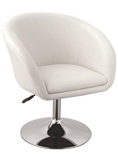 Duhome 0092 Clubsessel in Weiß höhenverstellbar Kunstleder Sessel Coctailsessel Loungesessel