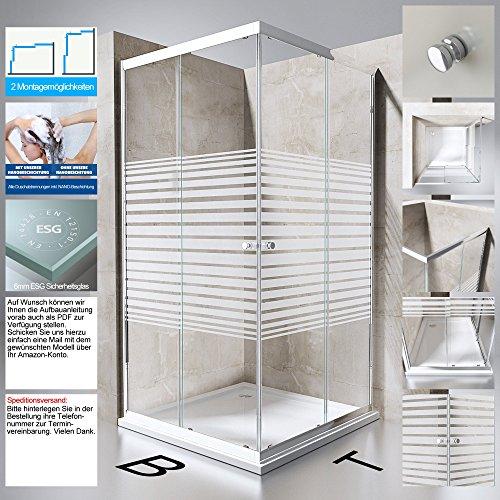 Duschabtrennung Duschkabine Ravenna14S aus ESG-Sicherheitsglas in Klarglas mit Milchglas Streifen mit NANO-Beschichtung, BTH: 80x90x190cm, Schiebetür, Eckeinstieg, Duschwand