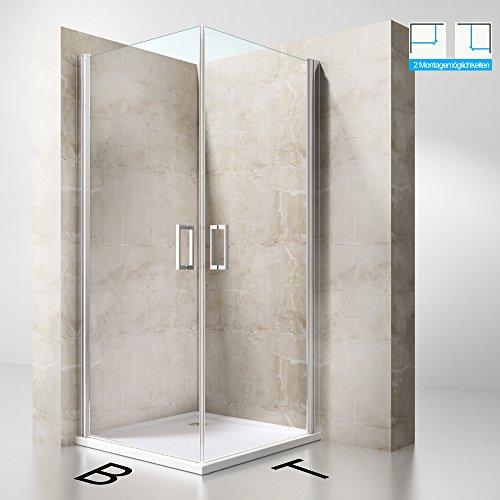 Duschabtrennung Duschkabine Ravenna22K aus ESG-Sicherheitsglas in Klarglas und beidseitiger NANO-Beschichtung, Drehtür, BTH: 85x100x190cm, Duschwand