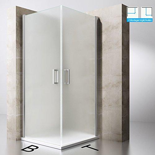 Duschabtrennung Duschkabine Ravenna22S aus ESG-Sicherheitsglas in Milchglas und NANO-Beschichtung, Drehtür, BTH: 80x80x190cm, Duschwand
