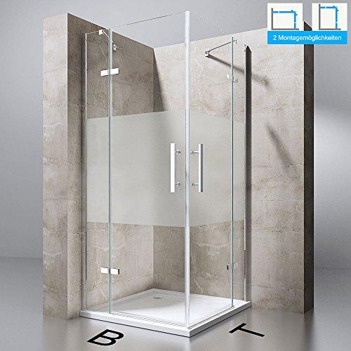 Duschabtrennung Duschkabine Ravenna30MS in Klarglas mit Milchglas Streifen, ESG-Sicherheitsglas, BTH: 100x90x195cm, Eckeinstieg, Duschwand