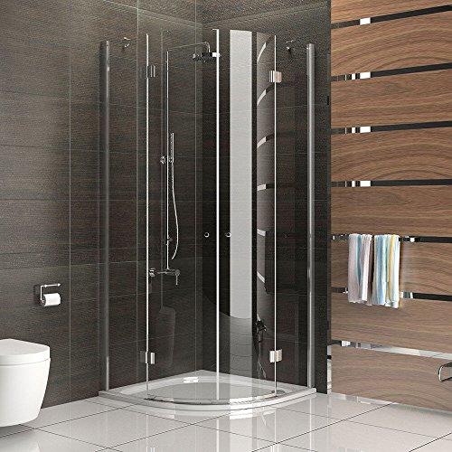 Duschabtrennung / Rund Dusche Design ESG Rahmenlose Echtglas-Duschkabine / 90 x 90 x 200 Dusche