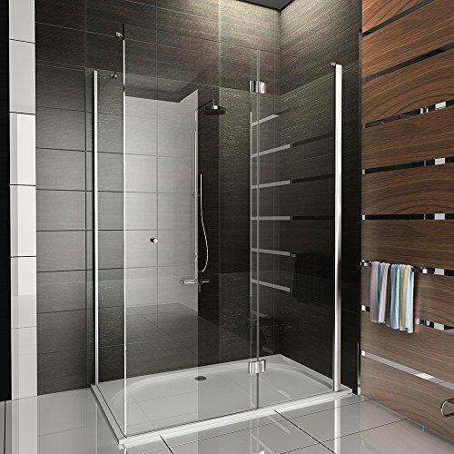 Duschkabine / Echtglas Eck Dusche / Duschkabine mit Antikalk / Duschkabine ca. 140 x 80 x 195 cm / klares Sicherheitsglas / / Höhe der Dusche ca. 195 cm / Duschkabine