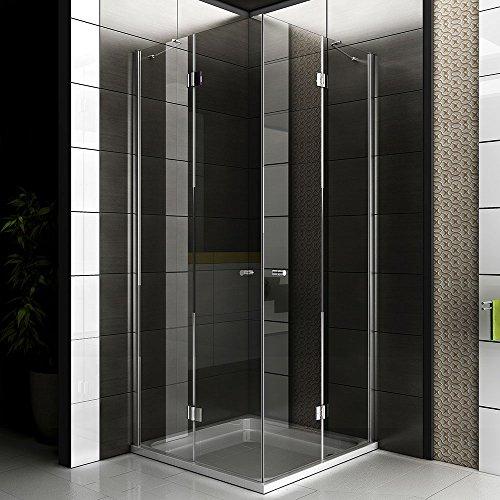 Duschkabine / Echtglas Eck Dusche / Glasdusche ca. 90 x 90 x 200 cm / Duschkabine rahmenlos / Alpenberger / Modell Quadri Clear / Duschabtrennung aus Sicherheitsglas