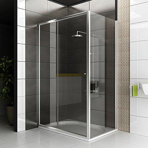Duschkabine Echtglas / Eckdesign / 120 x 90 x 190 cm / Glas Duschabtrennung / Dusche / Duschkabine / Modell Fugo Schiebetür / Top Angebot