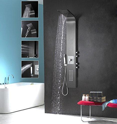 Duschpaneel Edelstahl schwarz matt mit Wasserfall und Massagefunktion