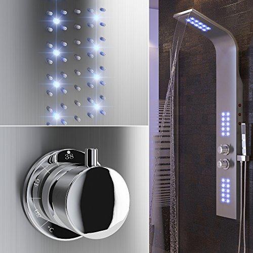 Duschpaneel LED inkl. Thermostat Armatur Regendusche Duscharmatur Wasserfall Duschsäule