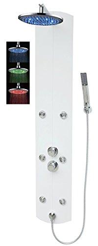 Duschpaneel mit Thermostat Weiss Eckmontage Led Regendusche Dusche Duscharmatur Duschsäule Armatur Handbrause Duschkopf Duschsystem