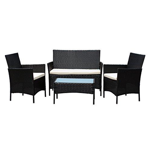 EBS-Gartenmbelset-Gartengarnitur-Sitzgruppe-Lounge-Garnitur-Polyrattan-1-Tisch-3-Sthle-Schwarz-mit-Weien-Kissen-0