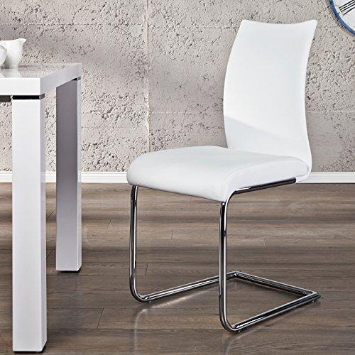 """ELEGANTER FREISCHWINGER """"BALANCED"""" stuhl für küche büro esszimmerstuhl von Xtradefactory weiß"""