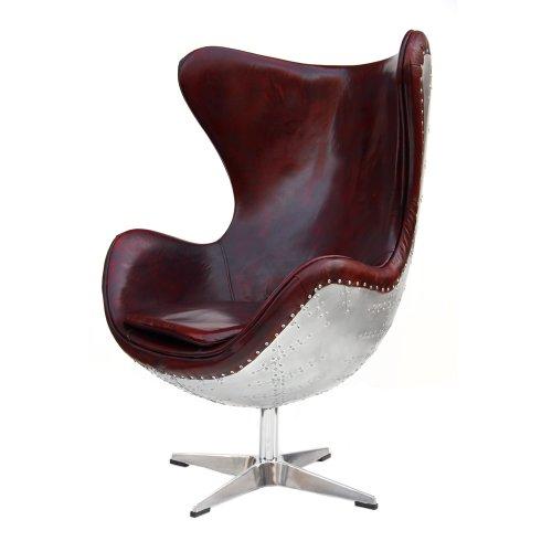 Echtleder-Vintage-Alu-Sessel-Retro-Ledersessel-Drehsessel-Schwingsessel-Design-Lounge-Egg-Chair-Clubsessel-Sofa-Mbel-NEU-438-0