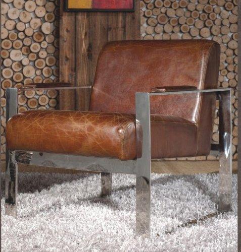 Echtleder-Vintage-Edelstahl-Sessel-Ledersessel-Design-Lounge-Clubsessel-Sofa-Mbel-NEU-445-0