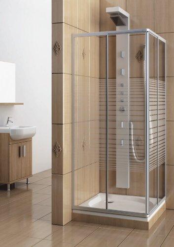 Eckeinstieg Duschkabine Echtglas Sicherheitsglas mit Streifen Silberne Profile 80x80 90x90 80x90 90x80