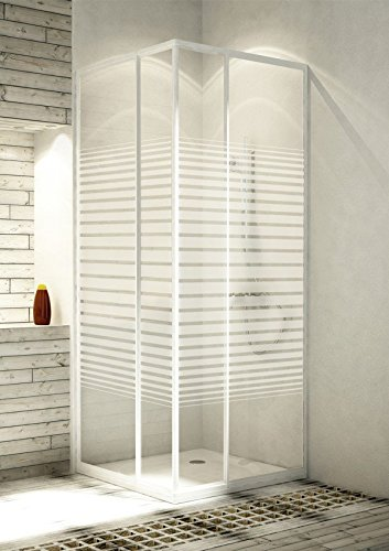 Eckeinstieg Duschkabine Echtglas Sicherheitsglas mit Streifen Weisse Profile Links 68 bis 83 und Rechts 73 bis 90cm Sondermass
