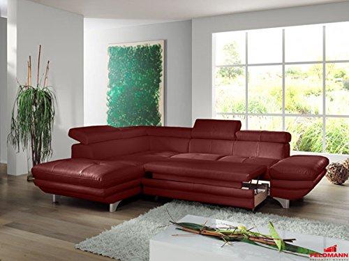 Ecksofa 60566 Polsterecke Echt Leder rot Ausrichtung und Ausstattung wählbar (Ausrichtung: Ottomane links / Ausstattung: mit Schlaffunktion)