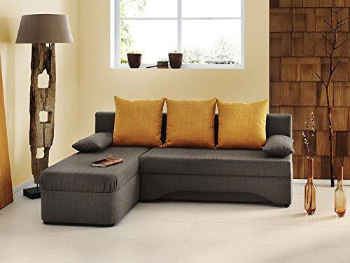 ecksofa pollux 191x142cm hellbraun orange schlafsofa couch. Black Bedroom Furniture Sets. Home Design Ideas