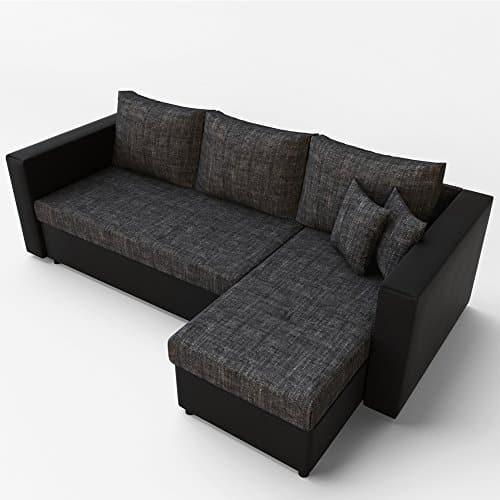 Ecksofa mit Schlaffunktion Grau Schwarz - Stellmaß: 224 x 144 cm Liegemaß: 200 x 140 cm - Sofa Couch Schlafcouch Schlafsofa Eckcouch