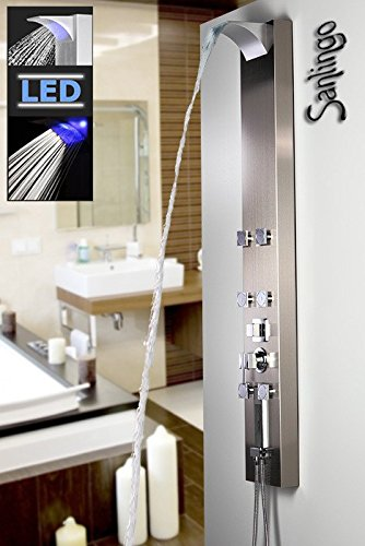 Edelstahl LED Duschpaneel Duschsäule mit Wasserfall, Massagedüsen und Regendusche von Sanlingo