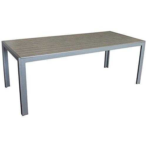 Eleganter Gartentisch für bis zu 8 Personen Aluminium Polywood / Non Wood Tischplatte 205x90cm grau/grau Esszimmertisch Küchentisch Esstisch Gartenmöbel Terrassenmöbel Esszimmermöbel