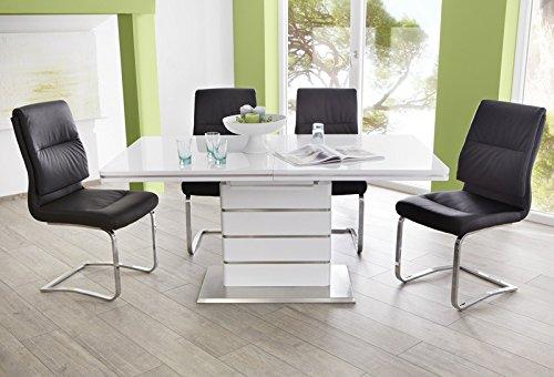 Essgruppe Tischgruppe Säulentisch Alber ausziehbar Hochglanz weiss + 4x Schwingstuhl Maegan schwarz