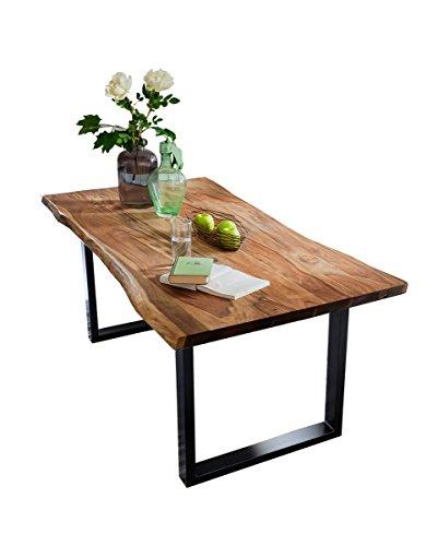 Esstisch Akazie-Holz massiv mit Baumkante Esszimmertisch Nussbaumfarben 160/180/200cm Fuß silberfarben oder schwarz
