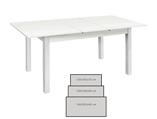 Esstisch Cottbus weiß Größe nach Wahl Esszimmertisch Speisetisch Auszugstisch Küchentisch Tisch Esszimmer Wohnzimmer Küche, Größe:120(160)x70 cm