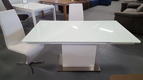 Esstisch Sever V Tisch Esszimmertisch Säulentisch Glastisch Ausziehtisch 160-240x90cm. Weiß