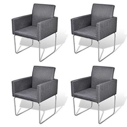 Esszimmer Stuhl mit Armlehnen Dunkelgrau (4 Stück)
