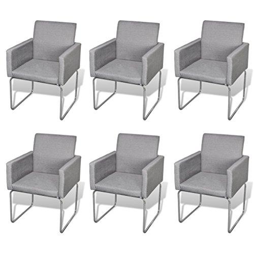 Esszimmer Stuhl mit Armlehnen Hellgrau (6 Stück)