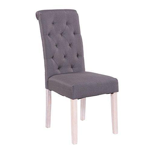 Esszimmerstühle 2er Set Stoff anthrazit dunkelgrau + Vintage Holzfüße