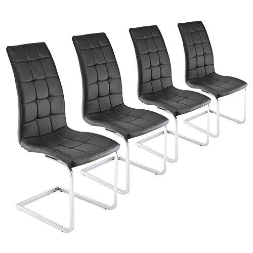Esszimmerstühle 4er Set schwarz Freischwinger Schwingstühle Chrom Kunstleder