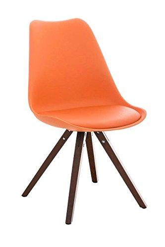 Esszimmerstuhl, Küchenstuhl, Lehnenstuhl, Sitzgelegenheiten, Besucherstuhl, Stuhl, Wartezimmerstuhl, Wohnzimmerstuhl Materialmix walnuss orange #PeglegS