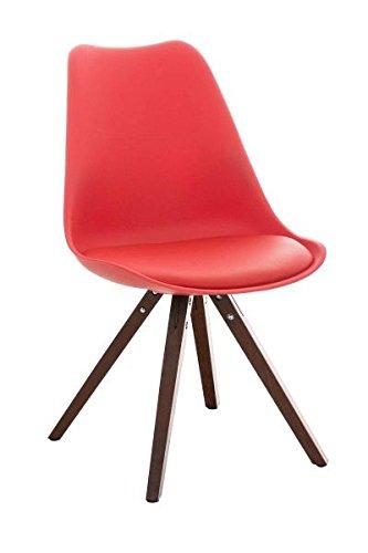Esszimmerstuhl, Küchenstuhl, Lehnenstuhl, Sitzgelegenheiten, Besucherstuhl, Stuhl, Wartezimmerstuhl, Wohnzimmerstuhl Materialmix walnuss rot #PeglegS