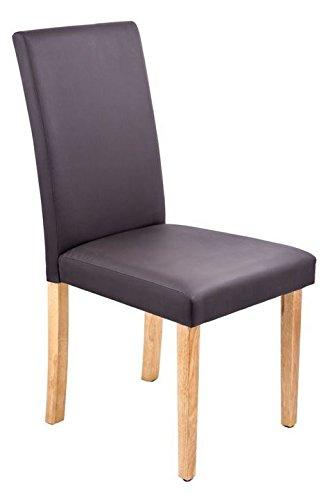Esszimmerstuhl Polsterstuhl Kunstleder braun oder creme (braun mit Holzfuß buchefarben)