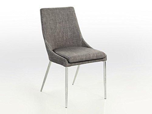 Esszimmerstuhl Stuhl Alia, Stoff grau Gestell chromfarben, Wohnzimmerstuhl Retrodesign Polsterstuhl