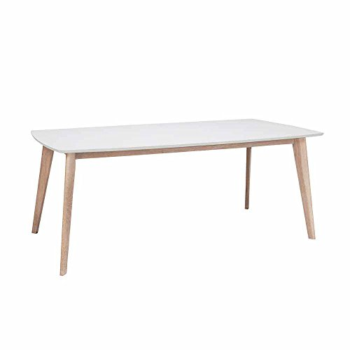 Esszimmertisch in Weiß mit Eiche Holzbeinen Pharao24