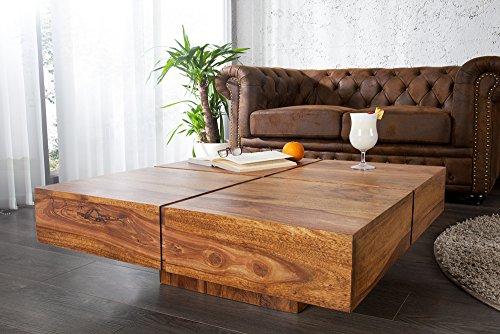 Exklusiver Design Couchtisch BOLT 80cm sheesham stone finish Tisch Massivholz