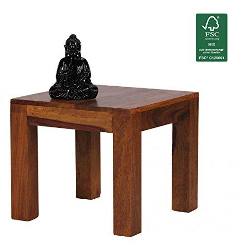 FINEBUY Sheesham Couchtisch Massiv 45 x 45 cm Massivholz Beistelltisch