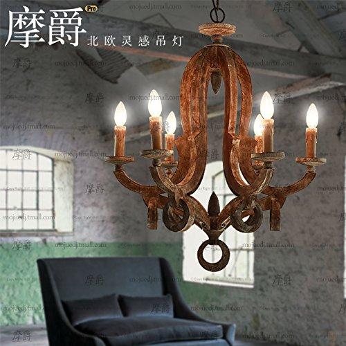 FUDA Beleuchtung Retro Wohnzimmer Schlafzimmer Holz Kronleuchter mit einem Durchmesser von 66cm*72cm