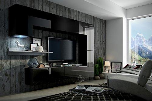 FUTURE 6 Moderne Wohnwand, Exklusive Mediamöbel, TV-Schrank, Neue Garnitur, Große Farbauswahl (RGB LED-Beleuchtung Verfügbar)