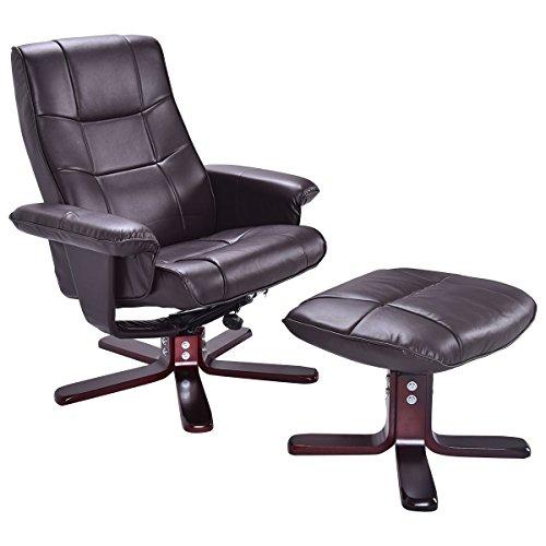 Fernsehsessel Relaxsessel Schaukelstuhl TV Sessel Relaxliege drehbar kippbar Stillsessel mit Hocker Massage Sessel Holzfuß PU Leder